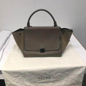 Céline smooth calfskin suede medium trapeze bag